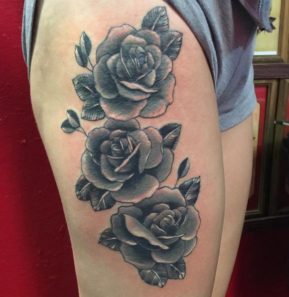 Black and white roses for Love n hate tattoo